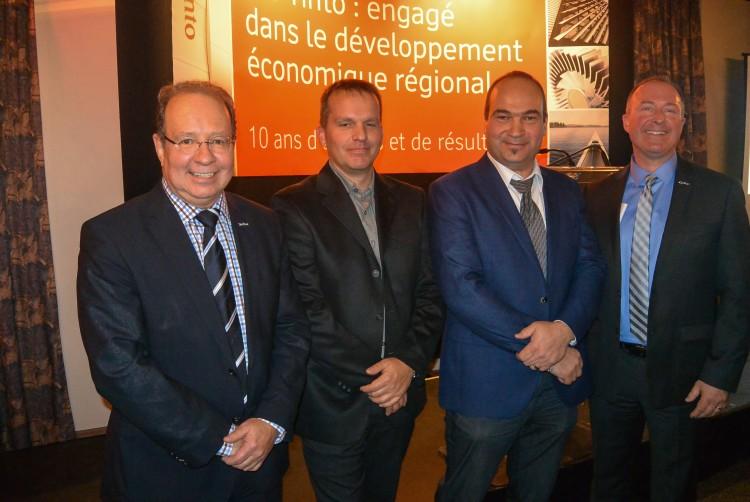 De gauche à droite: Martin Charron de RTA; Frédéric Mortin de Morin Énertech; Gino Jobin de Jamec et Gilles Grenon de RTA. (Photo: Jean-Luc Doumont)