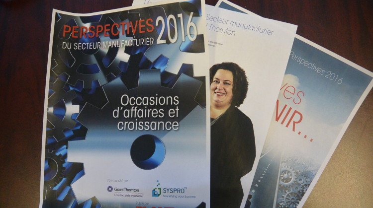 L'étude compte pas moins de 29 pages  sur les perspectives du secteur manufacturier en 2016. (Photo: Jean-Luc Doumont)