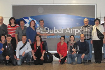 Une partie du groupe de gens d'affaires et leurs accompagnateurs, lors de leur arrivée à l'aéroport de Dubaï le 30 mars dernier. (Photo: Courtoisie)
