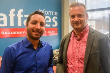De gauche à droite: Tomy Dijoux, directeur commercial et Yvon Laprise, PDG, lors de l'entrevue effectuée dans les locaux du mensuel Informe Affaires. (Photo: Jean-Luc Doumont)