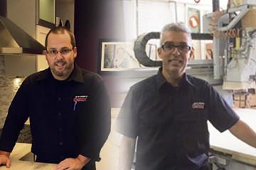 De gauche à droite, Martin Gaudreault, copropriétaire et directeur commercial au développement et Alain Dufour, directeur d'usine et copropriétaire chez Cuisines GBM. (Photo : Courtoisie. Montage: Lise Lebeuf)