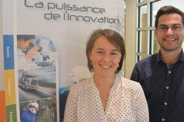 De gauche à droite: Josée Dallaire, directrice générale et Romain Cunat, conseiller en développement et innovation pour le Centre de géomatique du Québec à Saguenay. (Photo: Jean-Luc Doumont)