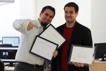 De gauche à droite: Jean-François Tremblay, PDG d'Eckinox Média et David Paradis, directeur de production. (Photo: Courtoisie)