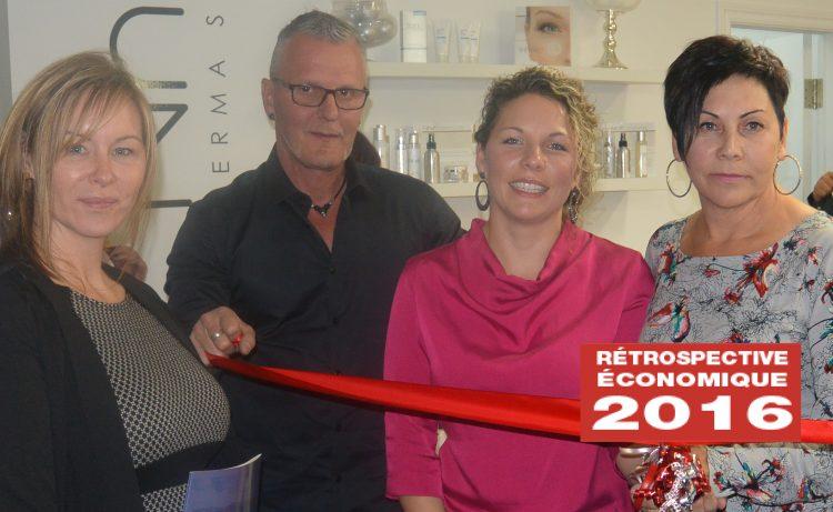 De gauche à droite: Sonia Truchon, présidente de Dermaveda; Mario Gagné, conjoint de Chantale Tremblay; Chantale Tremblay et Linda Gobeil, copropriétaires de Dermaveda Alma. (Photo : Jean-Luc Doumont)