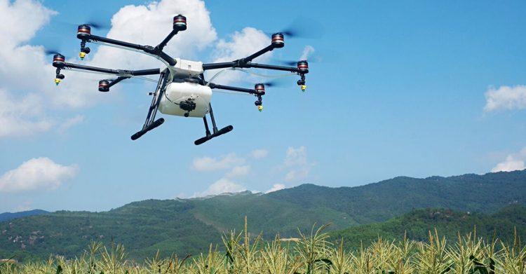 Quatre bras répandent le pesticide pour combattre la tordeuse d'épinette. (Photo: Courtoisie Conseillers Forestiers Roy)