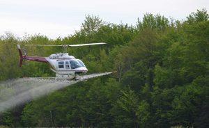 Pour des superficies plus grandes, l'hélicoptère est utilisé surtout sur les terres publiques. (Photo: Courtoisie Conseillers Forestiers Roy)
