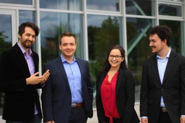 De gauche à droite : Edmond La Chance, directeur informatique; William Blais, directeur général; Geneviève Gauthier, directrice des communications et Kevin Dionne, directeur de la planification stratégique. (Photo : courtoisie)