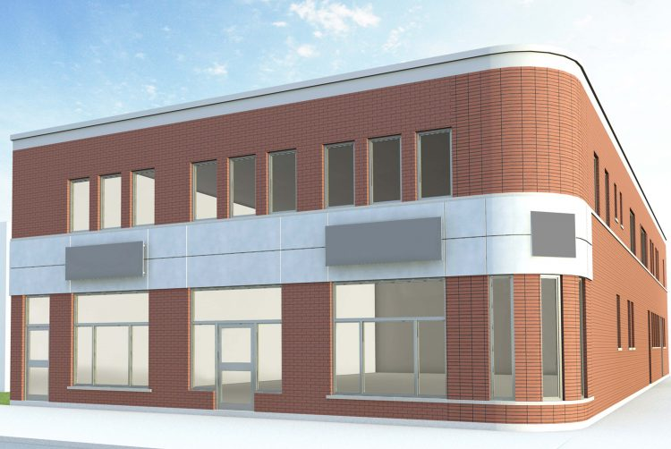 La brique remplacera la tôle afin de s'harmoniser parfaitement avec le voisinage. (Plan : Yoan D. Belley Architecte)