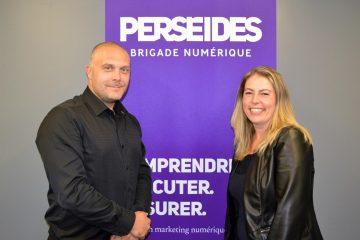 Le PDG de Perséides, Christian Desgagnés et la directrice des opérations du bureau de Joliette, Pascale Lapointe-Manseau. (Photo : courtoisie)